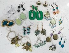 Green Earring Lot. Vintage (16 Pairs).