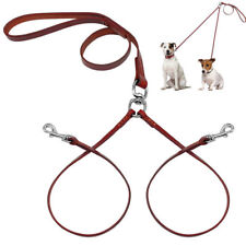 Double Dog Leash 2 Way Leather Coupler Twin Dogs Pet Puppy Leash No Tangle Brown
