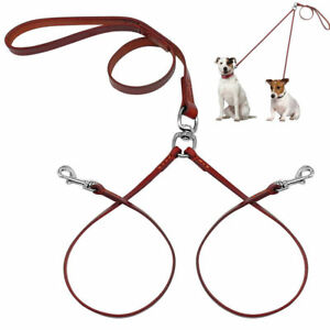 Brown Double 2 Way Dog Leash Leather Coupler Lead Small Medium Dogs Walking Rope