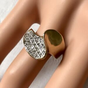 9 Carat Yellow Gold Diamond Pave Crossover Dress Ring By HOW. UK Size O. 4.2g