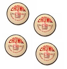 Pack of 4 Crown White Lether Cricket Balls 4Piece Hand Stitch 5.5oz Free Shippin