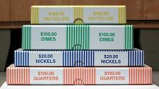 Set of 4 Bank Teller Coin Roll Storage Boxes Qtrs, Nickels, Dimes, Half Dollars