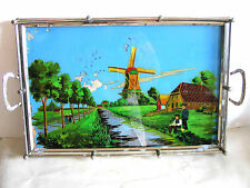 Antique Glass Reverse Painting Dutch Windmill Scene Metal Serving Tray FREE SH