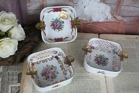 Set of 3 French limoges porcelain ashtrays marked floral