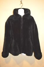 Izzi Womens Faux Fur Coat Black Zippered High or Foldable Collar, Clean, Sz Med