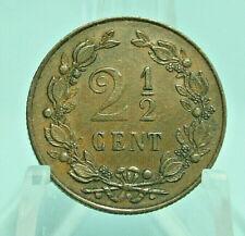 NIEDERLANDE: 2 1/2 Cent 1898: WILHELMINA - WAPPEN, Bronze, vz! ZUSTAND! 2Be6