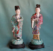 Two Antique Chinese Famille Rose Figures Kwan-Yin with Stands Famille Rose China