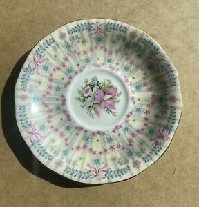 Royal Bridal Gown Saucer for Tea Cup Queen Anne Bone China England 1949 Pink