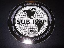 "SUB POP SEATTLE 4"" GLOBE CIRCLE LOGO Sticker Decal pearl jam nirvana"