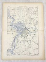 1881 Antique Military Map Antwerp Belgium Fortifications Forts National Redoubt