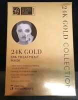 24K GOLD FACE MASK BY GLOBAL BEAUTY. 5 PACK SPA FACIAL TREATMENT