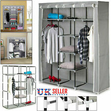 Canvas Wardrobe Storage Clothes Hanging Rail Fabric Hanging Cupboard Shelves UK