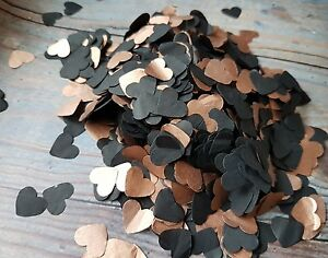 LUXURY BLACK & COPPER/ROSE GOLD  HEARTS CONFETTI WEDDING/THROWING/ECO.2 HANDFULS
