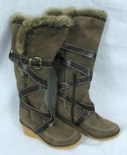 Colin Stuart Knee High Boot Victoria Secret 5 Faux Fur trim Wedge Leather Upper