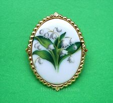 Cameo Pin Pendant Mom Mother's Day Gift Porcelain May Lily of the Valley Flower