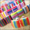 Retro Cute Candy Rainbow Stripes Square Stud Earrings Funky Stocking Gift Filler