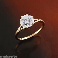 18K Yellow Gold Filled Engagement Ring Sz 7 (R-195)