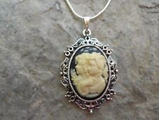 BEAUTIFUL SISTERS, OR MOTHER, DAUGHTER CAMEO NECKLACE- .925 SILV. PLATE CHAIN!!!