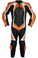 GermanWear™ Einteiler Motorradkombi Lederkombi Rindsleder echtleder Kombi Orange