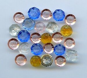 """25 AWESOME TRANSPARENT COLORED GLASS buttons--SETS-PINK--BLUE--TOPAZ--1/2""""--3/8"""""""