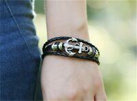 Armband Bracelet Surfer Style Neu Anker Kunstleder Unisex Herren Frauen