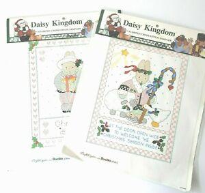 Bucilla Daisy Kingdom Stamped Cross Stitch Christmas Sampler Panels 1992 LOT 2