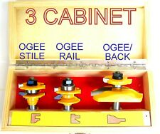 3pc Ogee w/Backcut Panel & Ogee Rail & Stile Router Bit Set S