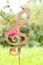 Edelrost Note Metall ausgebrannt Gartenstecker Deco Musik Notenschlüssel
