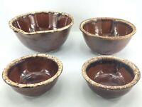 Vintage Hull USA Oven Proof Pottery Brown Drip Glaze Lot of 4 Bowls