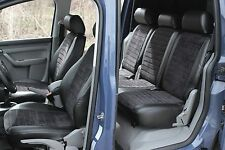 VW Touran ab 2010 Passform Sitzbezüge Schonbezüge Schwarz Kunstleder Velour