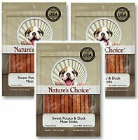 Nature's Choice Sweet Potato & Duck Soft Chew Meat Sticks - PACK of 3