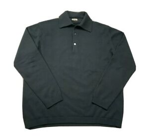 Malo Men's 100% Cashmere Long Sleeve Polo Shirt Sweater 50 M/L Italy Green