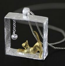 "18"" Gold Climbing Cat Pendant Kitty Necklace Women Kitten Chasing Ball Silver S1"