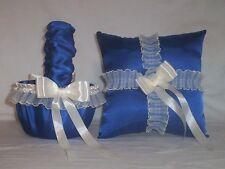 Horizon Blue Satin / Ivory Cream Trim Flower Girl Basket & Ring Bearer Pillow #1