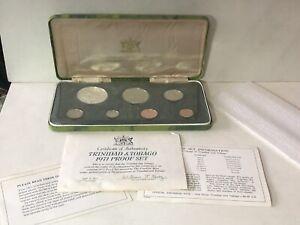 Vintage 1971 Trinidad Tobago Proof Set Franklin Mint Case COA 7 Coins One Silver