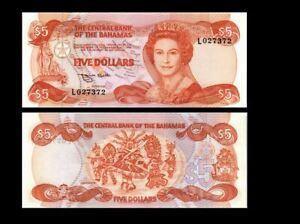 BAHAMAS 5 DOLLARS 1974 YEAR P 45b UNC