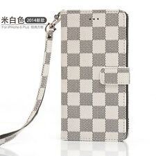 Luxury PU Leather Grid Wallet Flip Case Cover for iPhone 5 6 7 8plus X&samsung White for Samsung Galaxy S9