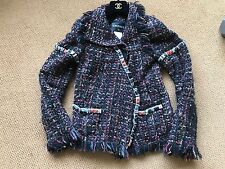CHANEL 10A SEMI PRECIOUS STONE TWEED FRINGE JACKET BLAZER 36 RARE COLLECTIBLE!