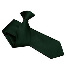 DQT Woven Plain Solid Check Dark Green Formal Work Slim Clip On Tie