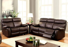 2 pcs Plush Sofa Set Couch Loveseat Recliner Lounger Brown Top Grain Leather