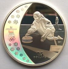 Canada 2007 Curling 25 Dollars 1oz Colour Silver Coin,Proof