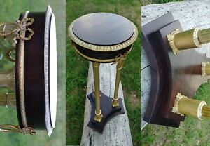 Antique pedestal Empire style | Mahogany Brass | Side table | Rare find