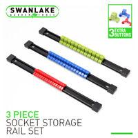 """Socket Holder Sliding Rail Tray Organizer Clips 1/4"""" 3/8"""" 1/2"""" Mountable Storage"""