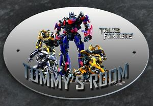 Personalised DOOR PLAQUE Sign TRANSFORMERS Any Name Kids Room Child's Bedroom
