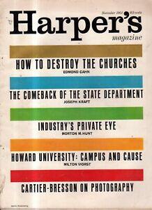 1961 Harper's November- Howard University; India and sterilization; The Churches