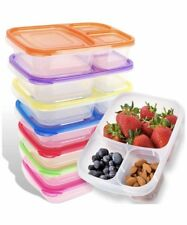 Bento Lunch Box Meal Prep Containers 7 Pack Reusable 3-Compartment Plastic Food