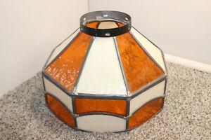 TIFFANY STYLE ORANGE WHITE STAINED GLASS GLOBE LAMP POOL BAR LIGHT
