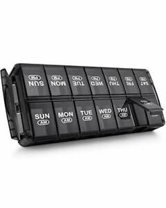 Pill Organizer 2 Times A Day, Am Pm Large Weekly 7 Day Pill Case for Pills,Black