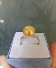 Charming AAA+12mm Natural Perfect South Sea Yellow Pearl Ring 8+Box