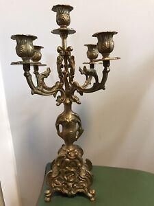 "Itallian Baroque Brass Candelabra 5 arms, 16 1/8"" tall, 5.5 lbs."